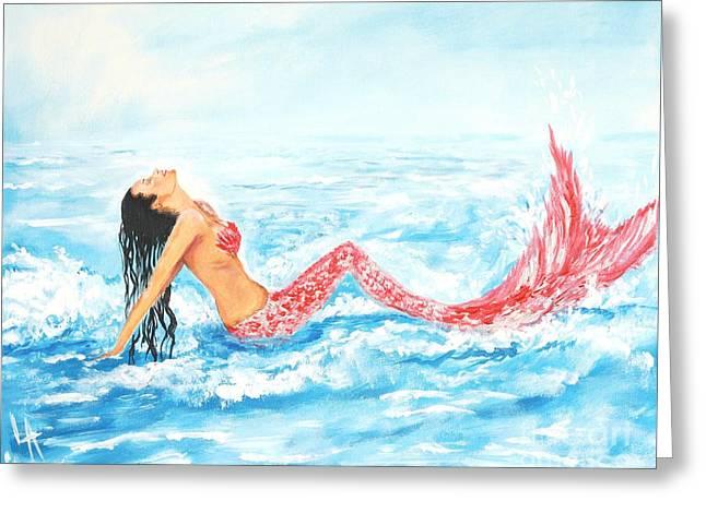 Picture Of Mermaids Greeting Cards - Splashing Mermaid Greeting Card by Leslie Allen