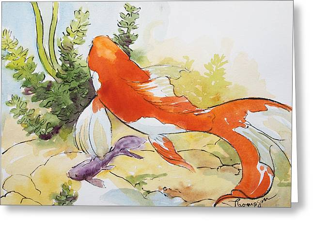 Goldfish Paintings Greeting Cards - Splashy Goldfish Greeting Card by Tracie Thompson