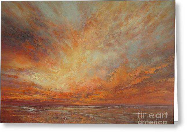 Sunset Tapestries - Textiles Greeting Cards - Splendour Greeting Card by Valerie Travers