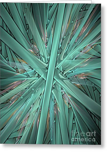 Generative Abstract Greeting Cards - Split Cylinder Fiery Greeting Card by Deborah Benoit