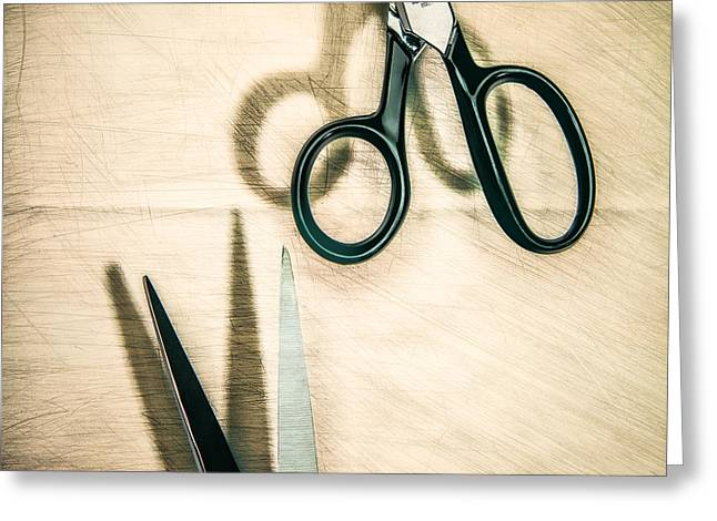 Knife Work Greeting Cards - Split Forget Shears Greeting Card by Yo Pedro