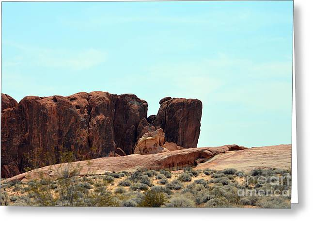 Boulders Tapestries - Textiles Greeting Cards - Split Mountain Greeting Card by Edna Weber