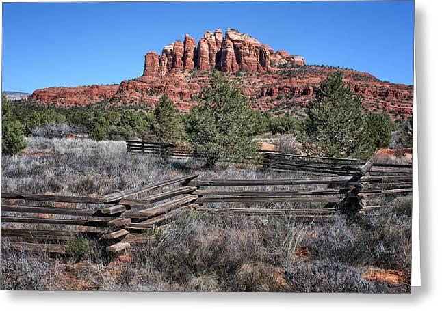 Split Rail Fence Photographs Greeting Cards - Split Rail Fence - Sedona - Arizona Greeting Card by Nikolyn McDonald