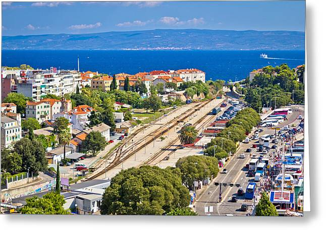 Docked Boats Greeting Cards - Split railway station and harbor aerial view Greeting Card by Dalibor Brlek