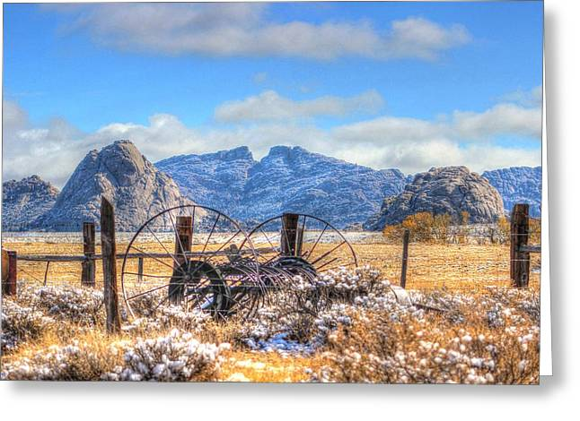 Express Greeting Cards - Split Rock in Light Snow Greeting Card by Vikki Correll