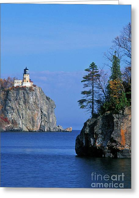 Rugged Cliffs Greeting Cards - Split Rock Lighthouse - FS000120 Greeting Card by Daniel Dempster