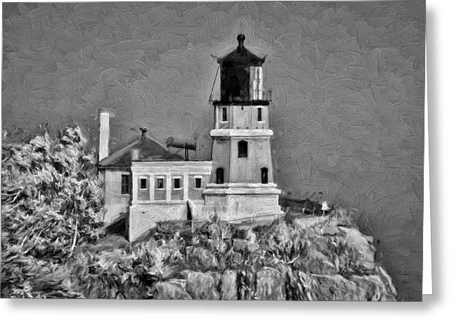 Wooden Stairs Mixed Media Greeting Cards - Split Rock Lighthouse Art BW Greeting Card by Todd and candice Dailey