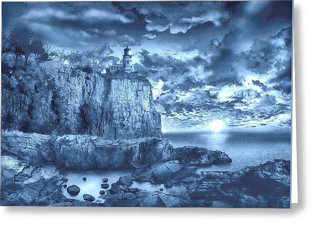 Surreal Landscape Greeting Cards - Split Rock Lighthouse Blue Greeting Card by MB Art factory