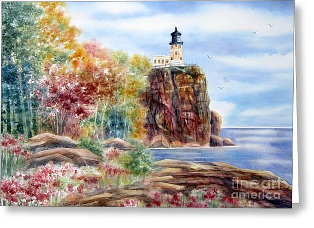Deb Ronglien Watercolor Greeting Cards - Split Rock Lighthouse Greeting Card by Deborah Ronglien