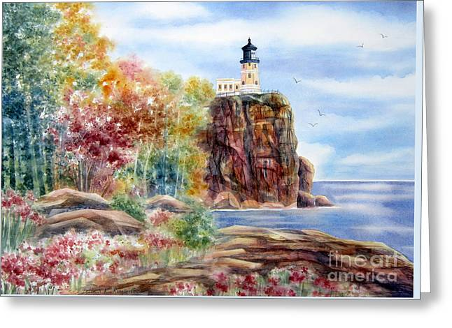 Split Rock Lighthouse Greeting Card by Deborah Ronglien