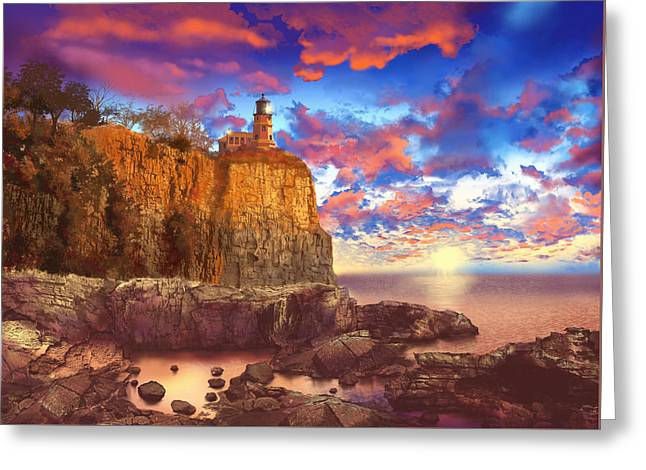 Surreal Landscape Greeting Cards - Split Rock Lighthouse Greeting Card by MB Art factory