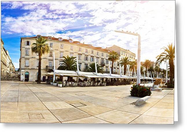 Panoramic Ocean Greeting Cards - Split waterfront walkway on golden sun rays Greeting Card by Dalibor Brlek