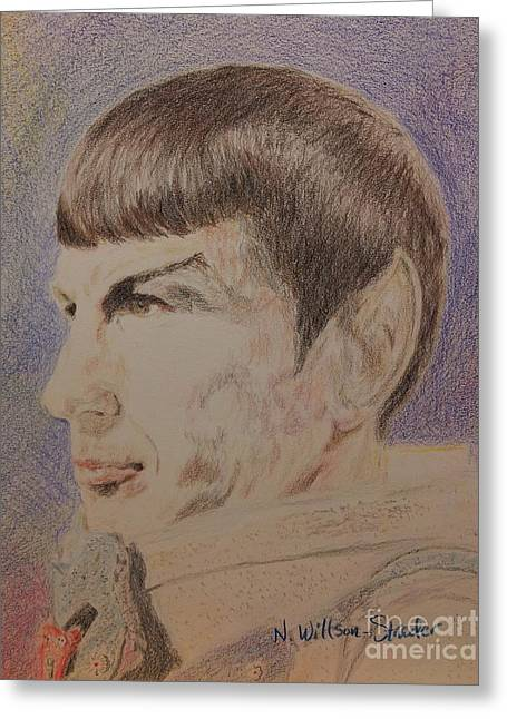 Spock Drawings Greeting Cards - Spock in Spacesuit Greeting Card by N Willson-Strader