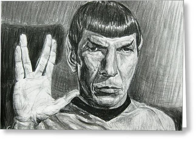 Enterprise Drawings Greeting Cards - Spock Greeting Card by Michael Morgan