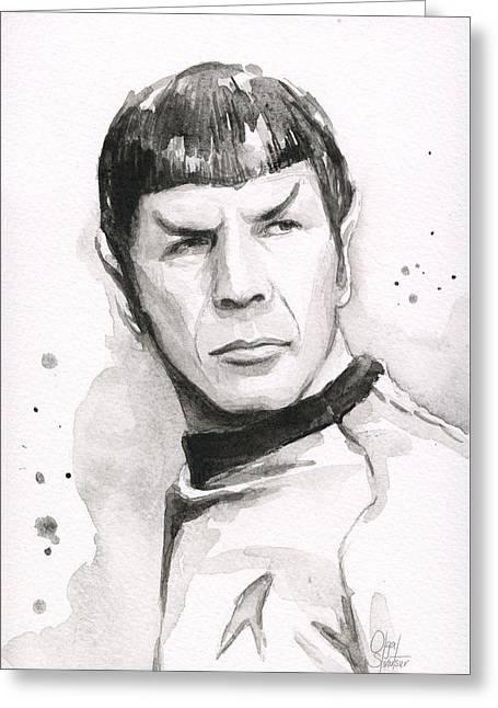 Spock Portrait Greeting Card by Olga Shvartsur