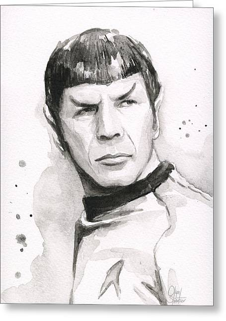 Long-lived Greeting Cards - Spock Portrait Greeting Card by Olga Shvartsur