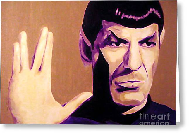 Roddenberry Paintings Greeting Cards - Spock Star Trek Nimoy Greeting Card by Margaret Juul