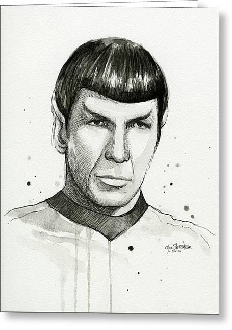 Spock Watercolor Portrait Greeting Card by Olga Shvartsur