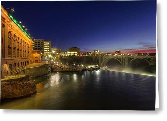 Spokane Falls At Night Greeting Card by Mark Kiver