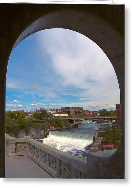 """spokane Falls"" Greeting Cards - Spokane Falls Buffalo Vault Greeting Card by Daniel Hagerman"