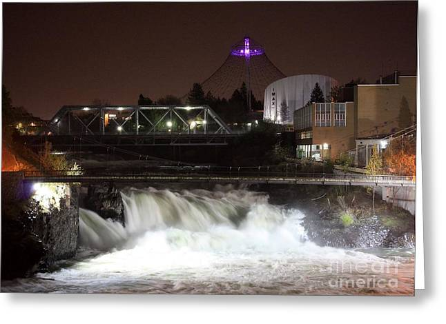 Spokane Falls Night Scene Greeting Card by Carol Groenen