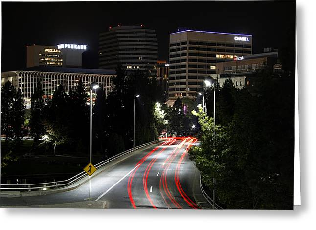 """spokane Falls"" Greeting Cards - Spokane Night Skyline Greeting Card by Daniel Hagerman"