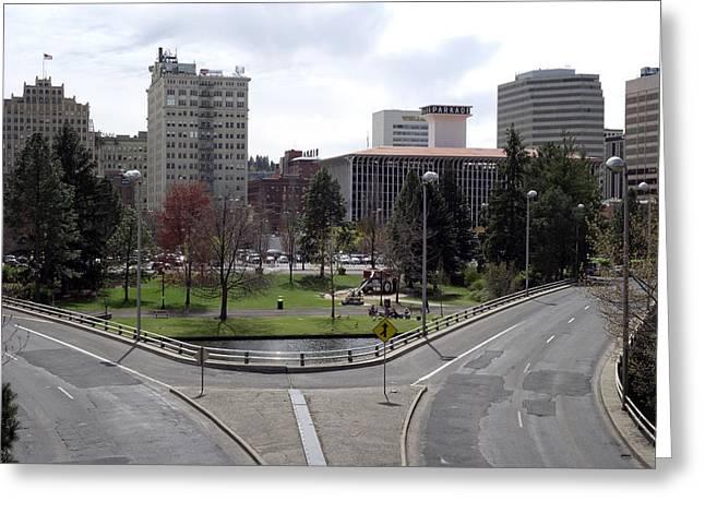 Spokane Greeting Cards - Spokane Skyline 3 Greeting Card by Daniel Hagerman