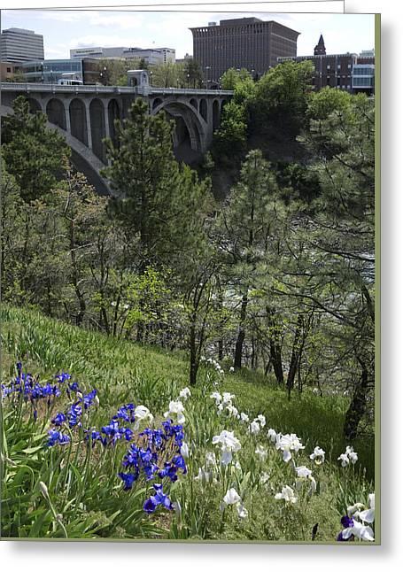 Spokane Greeting Cards - SPOKANE SKYLINE from CENTENNIAL TRAIL Greeting Card by Daniel Hagerman
