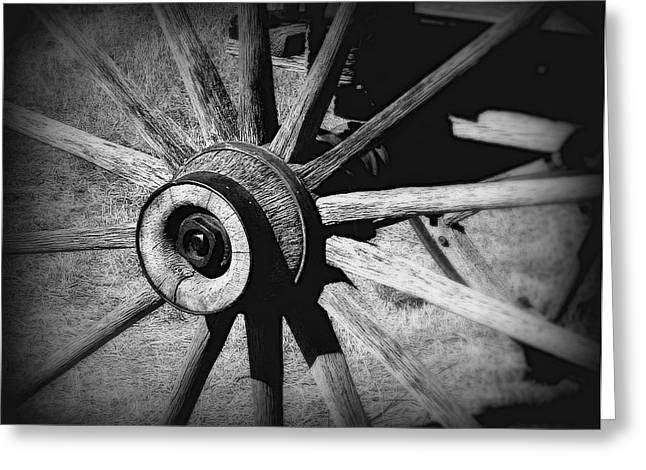 Prairie Sky Art Greeting Cards - Spoked wheel Greeting Card by Perry Webster