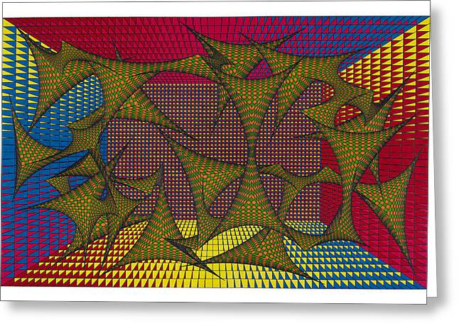 Optical Art Drawings Greeting Cards - Spontaneous Greeting Card by Roger Hampel