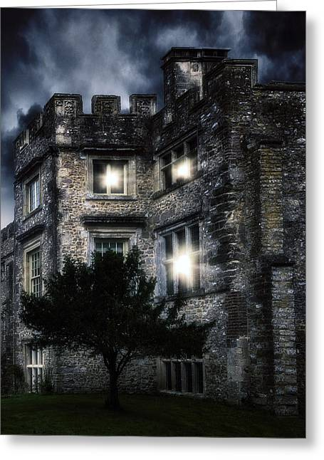 Ghost Castle Greeting Cards - Spooky Castle Greeting Card by Joana Kruse