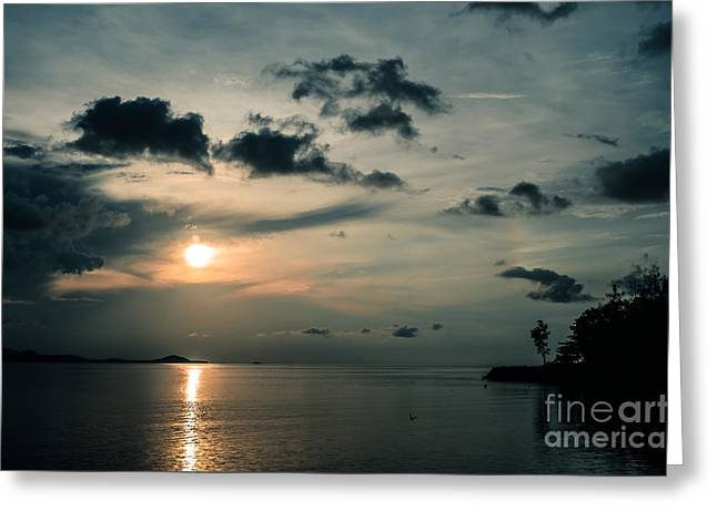 Sea View Greeting Cards - Spooky Evening Greeting Card by Michelle Meenawong
