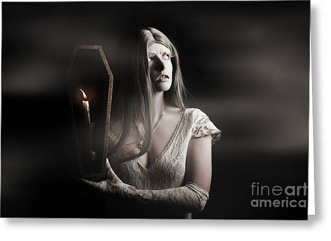 Spooky Gothic Girl In Haunted Horror House  Greeting Card by Jorgo Photography - Wall Art Gallery
