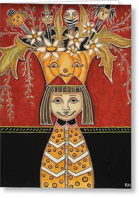 Halloween Folk Art Greeting Cards - Spooky Halloween Bouquet 2 Greeting Card by Rain Ririn