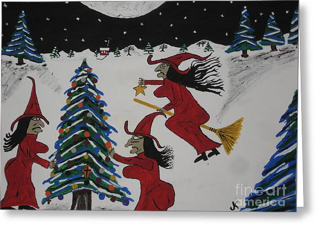Painting By Jeff Koss Greeting Cards - Spooky Merry Christmas Greeting Card by Jeffrey Koss
