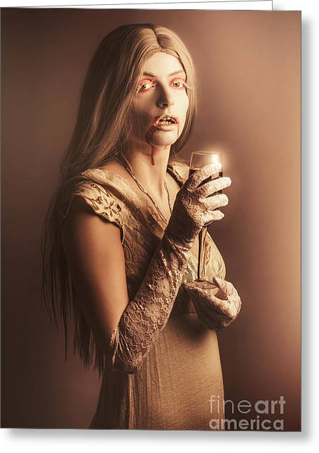 Spooky Vampire Girl Drinking A Glass Of Red Wine Greeting Card by Jorgo Photography - Wall Art Gallery