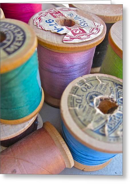 Photographs Digital Art Greeting Cards - Spools of Thread Greeting Card by Gwyn Newcombe