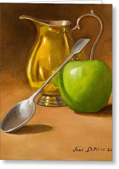Silver Greeting Cards - Spoon and Creamer  Greeting Card by Joni Dipirro