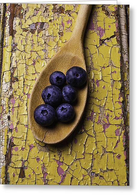 Wooden Spoon Greeting Cards - Spoon Serving Blueberries Greeting Card by Garry Gay