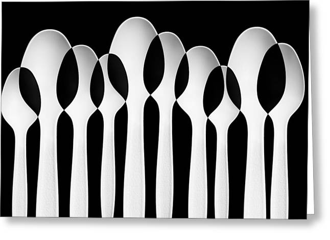 Monochrome Greeting Cards - Spoons Abstract:  Forest Greeting Card by Jacqueline Hammer