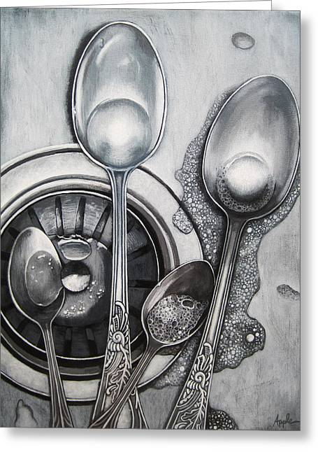 Spoons And Stainless Steel Realistic Still Life Painting Greeting Card by Linda Apple