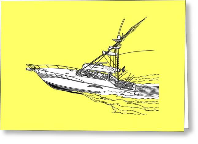 Silk Screen Greeting Cards - SportFish Yacht Custom Tee Shirt Greeting Card by Jack Pumphrey