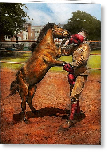 Sports - Boxing - Below The Belt 1924 Greeting Card by Mike Savad