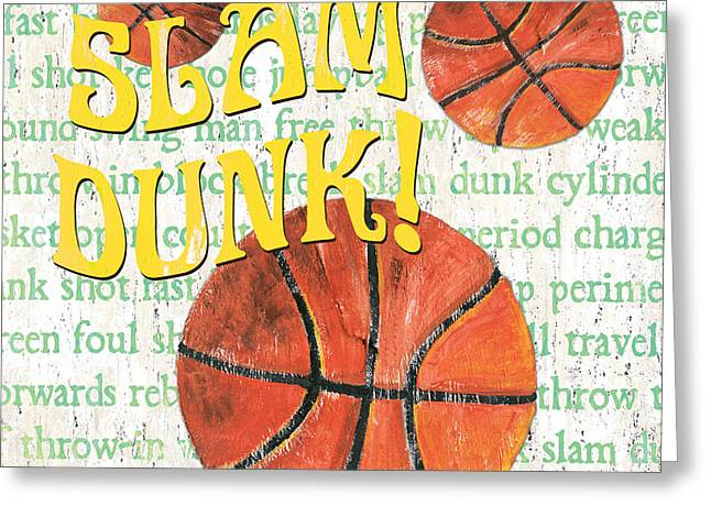 Basketball Paintings Greeting Cards - Sports Fan Basketball Greeting Card by Debbie DeWitt