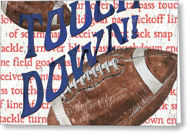 Kid Paintings Greeting Cards - Sports Fan Football Greeting Card by Debbie DeWitt