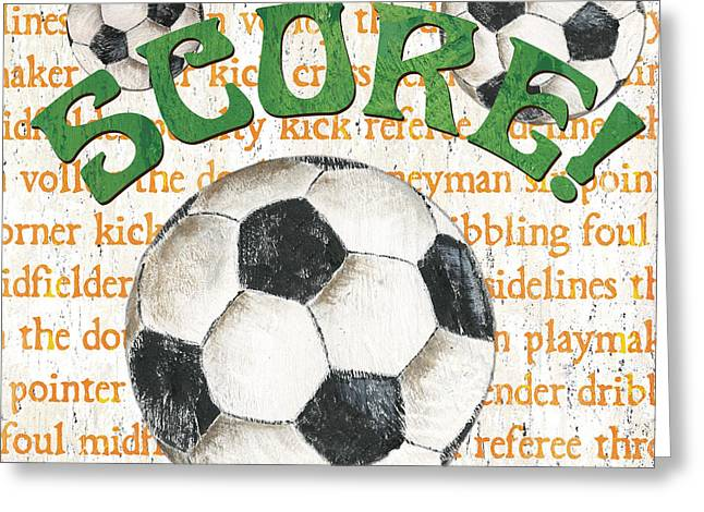 Kid Paintings Greeting Cards - Sports Fan Soccer Greeting Card by Debbie DeWitt