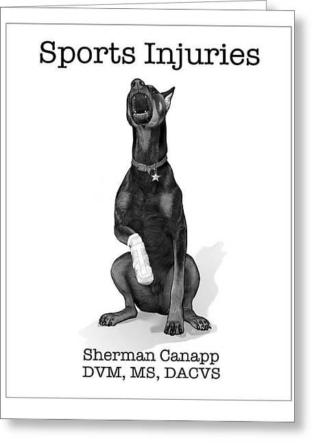 Dogs Digital Greeting Cards - Sports Injury  Greeting Card by Rick Reason