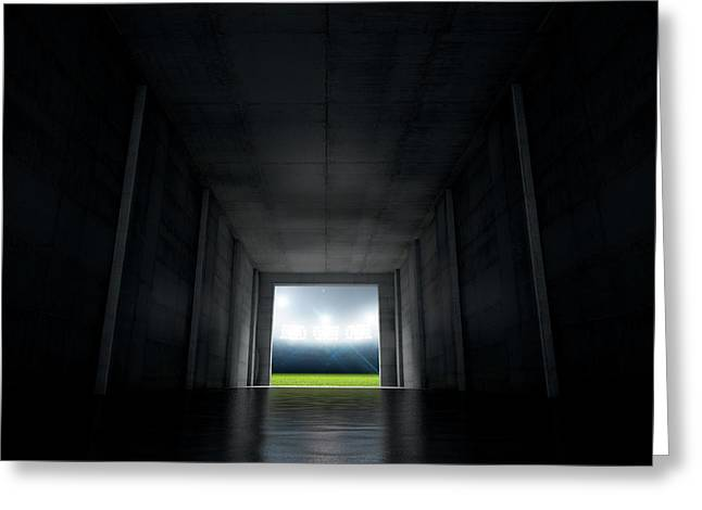 Sports Stadium Tunnel Greeting Card by Allan Swart