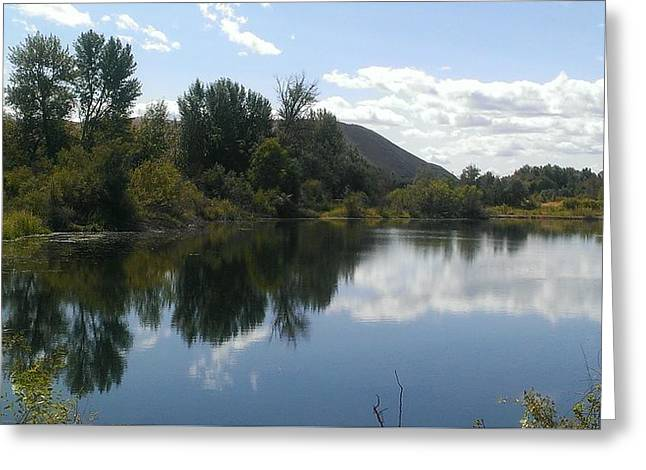 Reflecting Water Greeting Cards - Sportsmans Pond Greeting Card by LKB Art and Photography