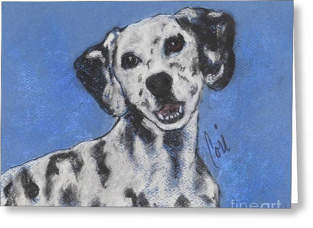 Puppies Pastels Greeting Cards - Spot On Greeting Card by Cori Solomon